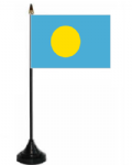 Palau Desk / Table Flag with plastic stand and base.